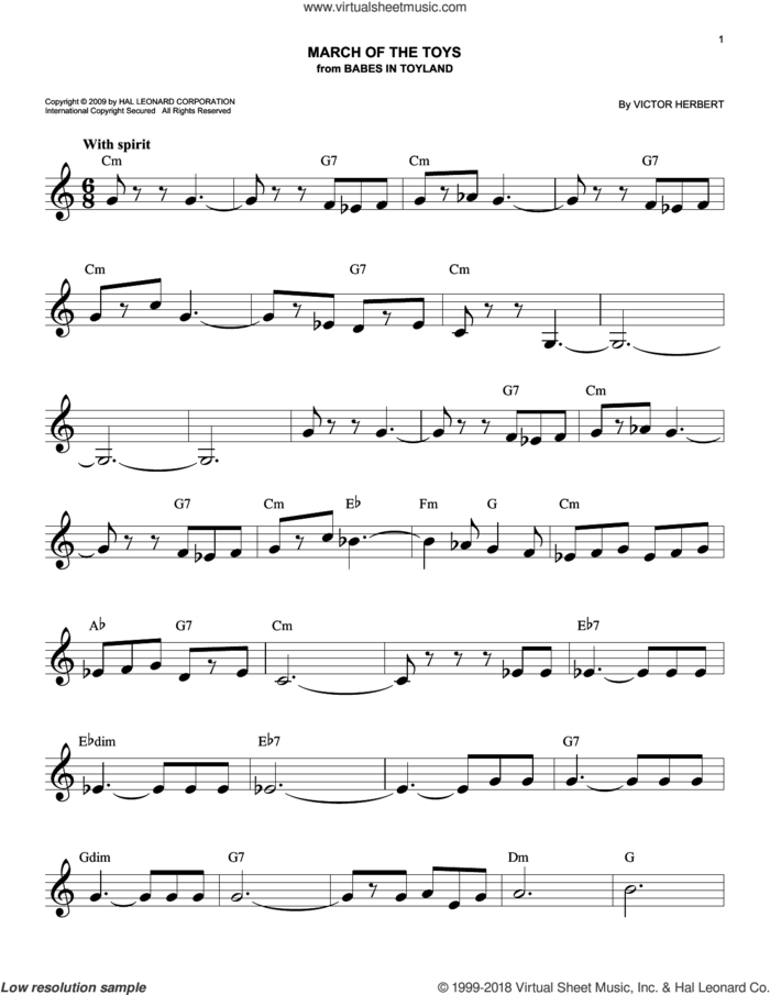 March Of The Toys sheet music for voice and other instruments (fake book) by Victor Herbert, intermediate skill level