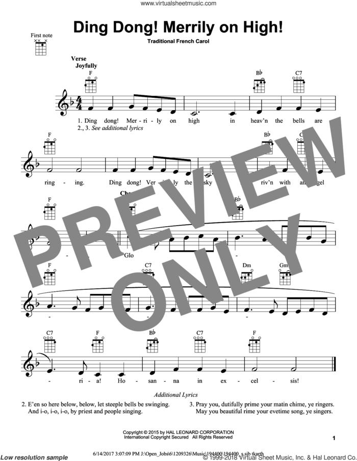 Ding Dong! Merrily On High! sheet music for ukulele, intermediate skill level