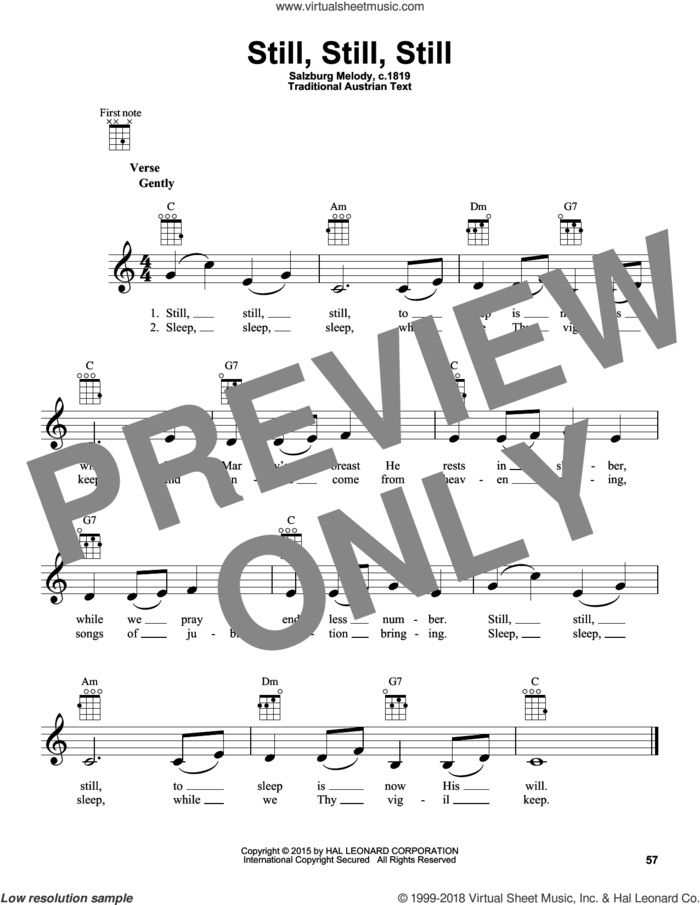 Still, Still, Still sheet music for ukulele by Salzburg Melody c.1819 and Miscellaneous, intermediate skill level