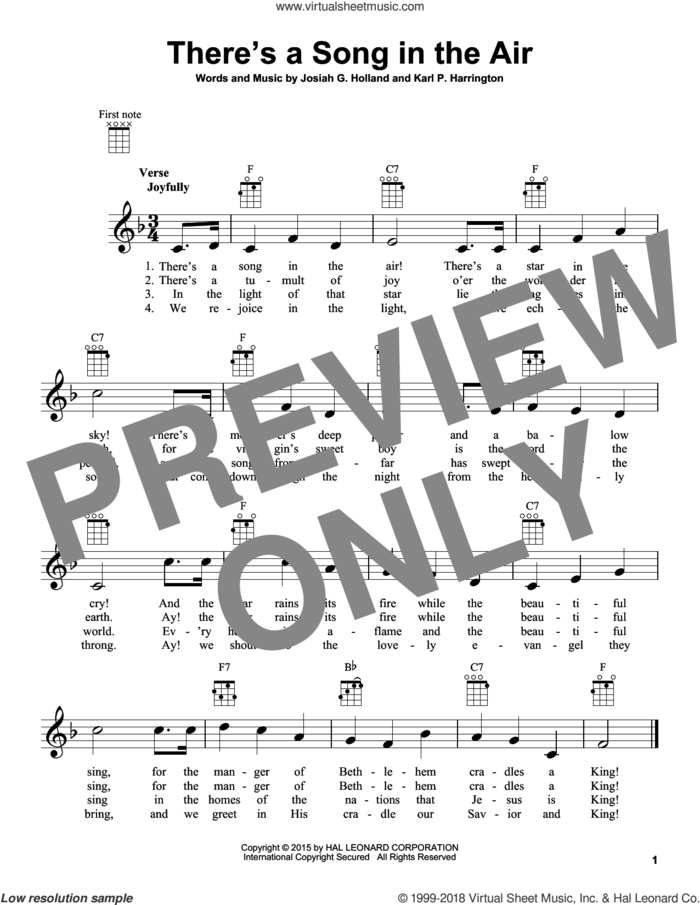 There's A Song In The Air sheet music for ukulele by Josiah G. Holland and Karl P. Harrington, intermediate skill level