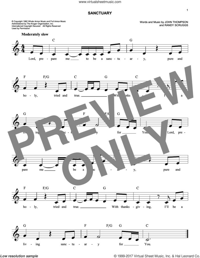 Sanctuary sheet music for voice and other instruments (fake book) by John Thompson and Randy Scruggs, intermediate skill level