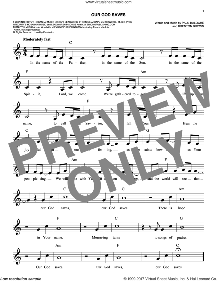 Our God Saves sheet music for voice and other instruments (fake book) by Paul Baloche and Brenton Brown, intermediate skill level