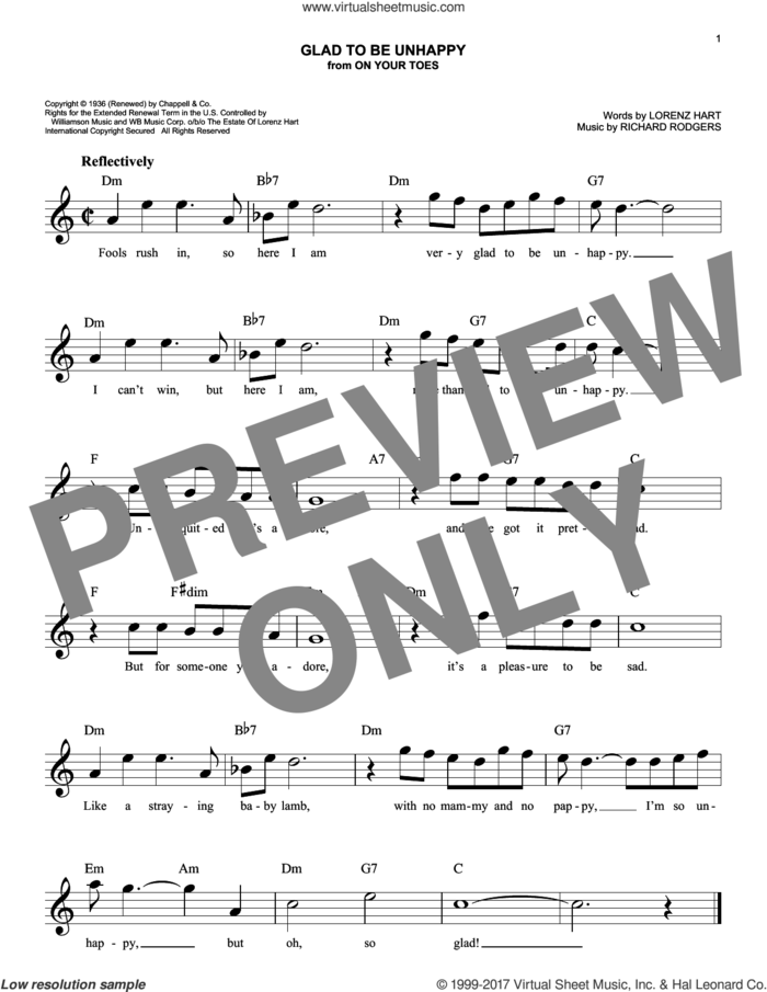 Glad To Be Unhappy sheet music for voice and other instruments (fake book) by Rodgers & Hart, Lena Horne, Lorenz Hart and Richard Rodgers, intermediate skill level