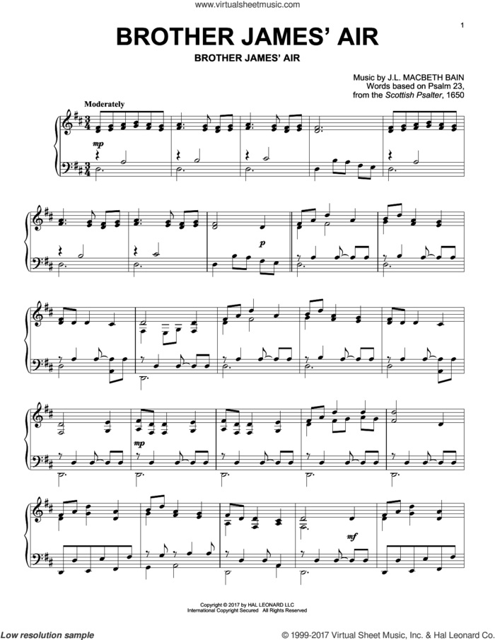 Brother James' Air sheet music for piano solo by Based on Psalm 23 and J.L. Macbeth Bain, intermediate skill level