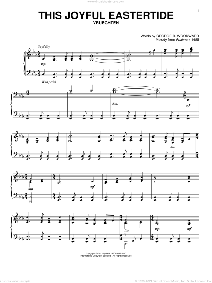 This Joyful Eastertide sheet music for piano solo by George Woodward and Melody from Psalmen, 1685, classical score, intermediate skill level