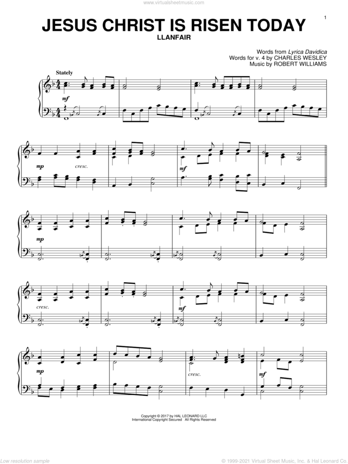 Jesus Christ Is Risen Today sheet music for piano solo by Lyra Davidica, Charles Wesley (v. 4) and Robert Williams, intermediate skill level
