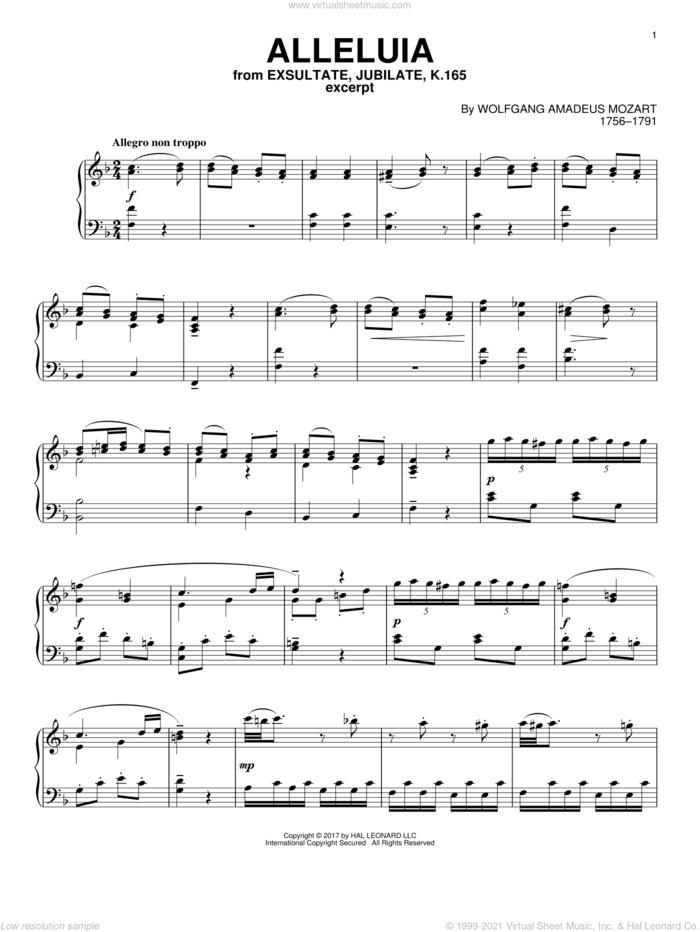 Alleluia sheet music for piano solo by Wolfgang Amadeus Mozart, classical score, intermediate skill level