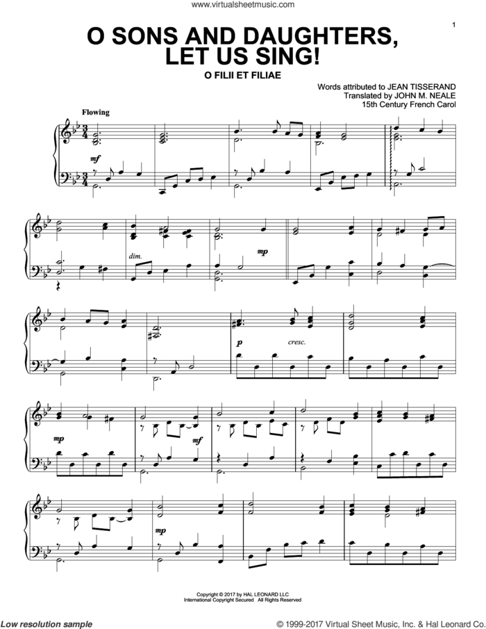 O Sons And Daughters, Let Us Sing! sheet music for piano solo by John Mason Neale, Miscellaneous and Jean Tisserand, intermediate skill level