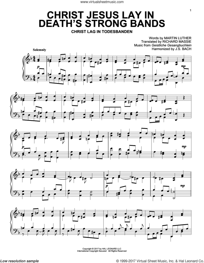 Christ Jesus Lay In Death's Strong Bands sheet music for piano solo by Geistliche Gesangbuchlein, Martin Luther and Richard Massie, intermediate skill level