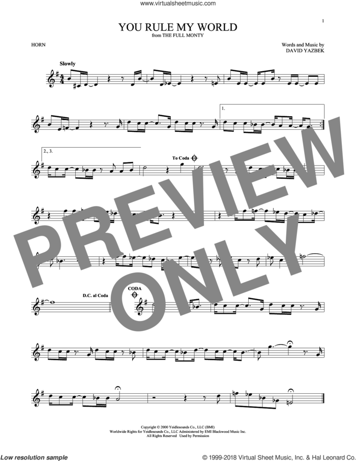 You Rule My World sheet music for horn solo by David Yazbek, intermediate skill level