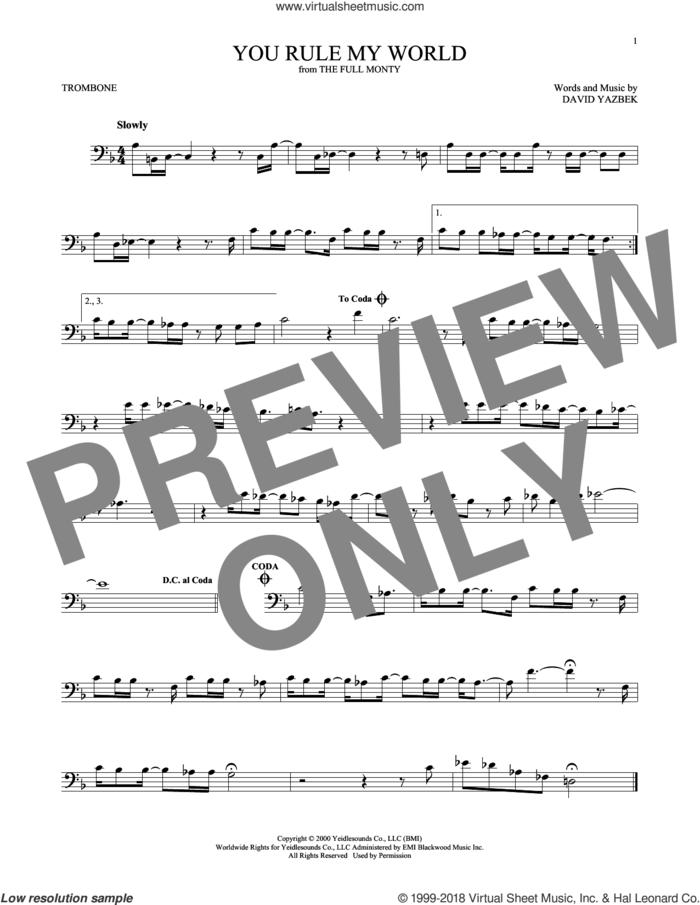 You Rule My World sheet music for trombone solo by David Yazbek, intermediate skill level