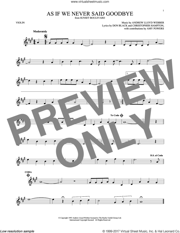 As If We Never Said Goodbye (from Sunset Boulevard) sheet music for violin solo by Andrew Lloyd Webber, Christopher Hampton and Don Black, intermediate skill level