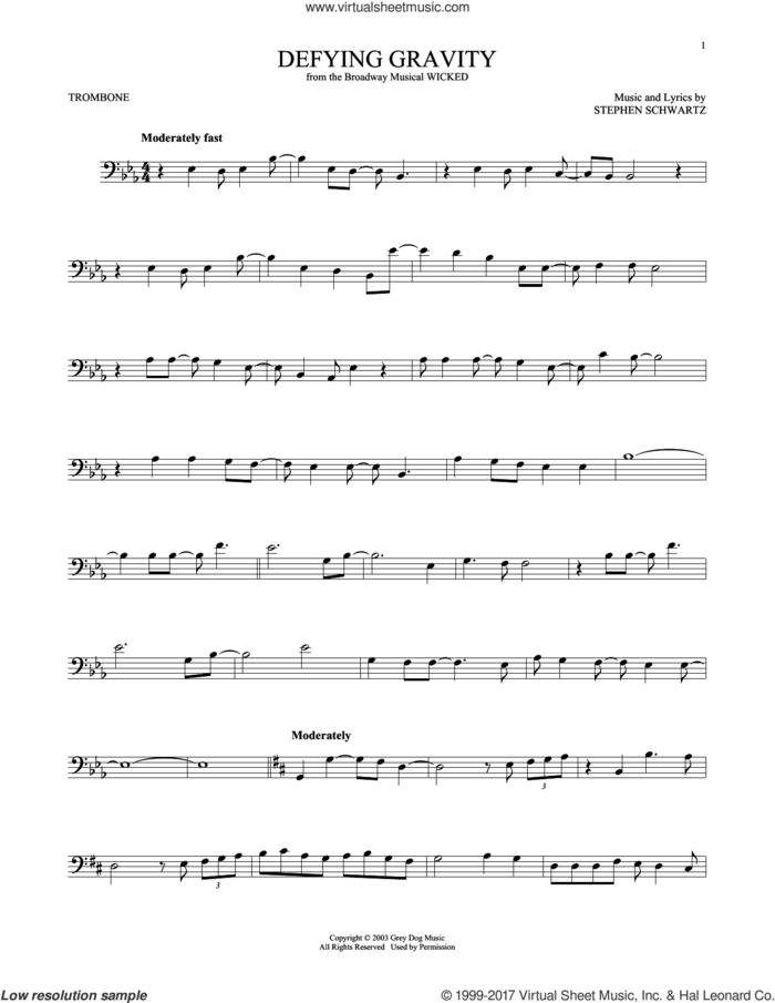 Defying Gravity (from Wicked) sheet music for trombone solo by Stephen Schwartz, intermediate skill level