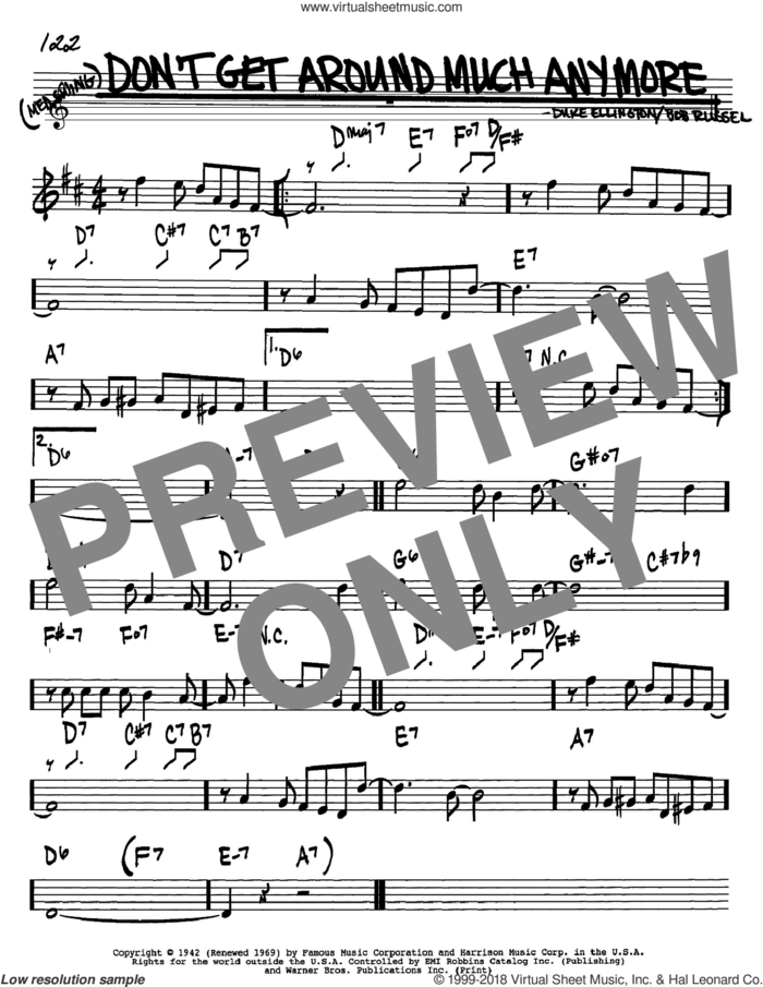 Don't Get Around Much Anymore sheet music for voice and other instruments (in Bb) by Duke Ellington and Bob Russell, intermediate skill level