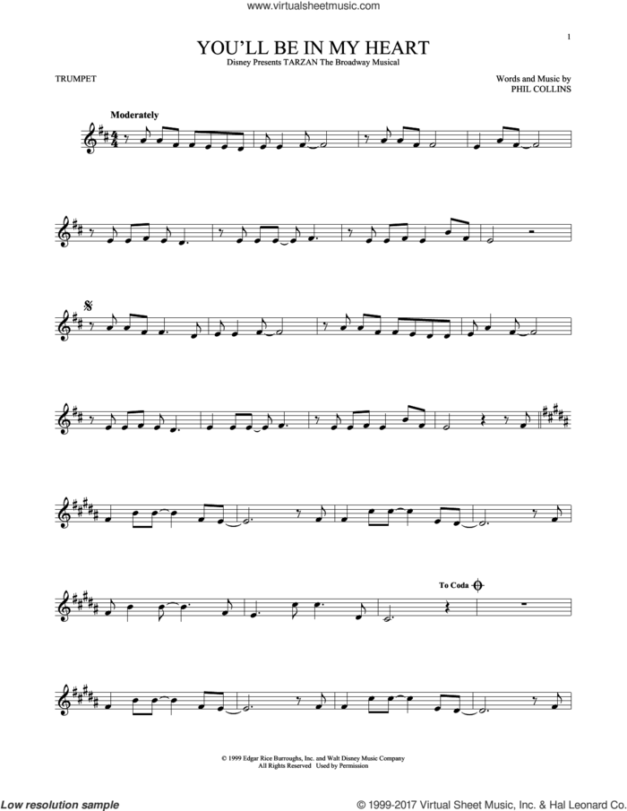 You'll Be In My Heart sheet music for trumpet solo by Phil Collins, intermediate skill level