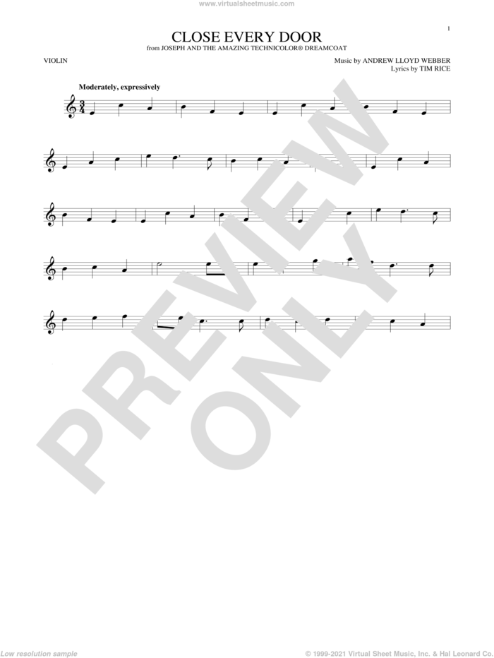 Close Every Door sheet music for violin solo by Andrew Lloyd Webber and Tim Rice, intermediate skill level