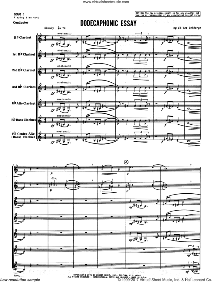 Dodecaphonic Essay (COMPLETE) sheet music for clarinet ensemble by Elliot Del Borgo, intermediate skill level