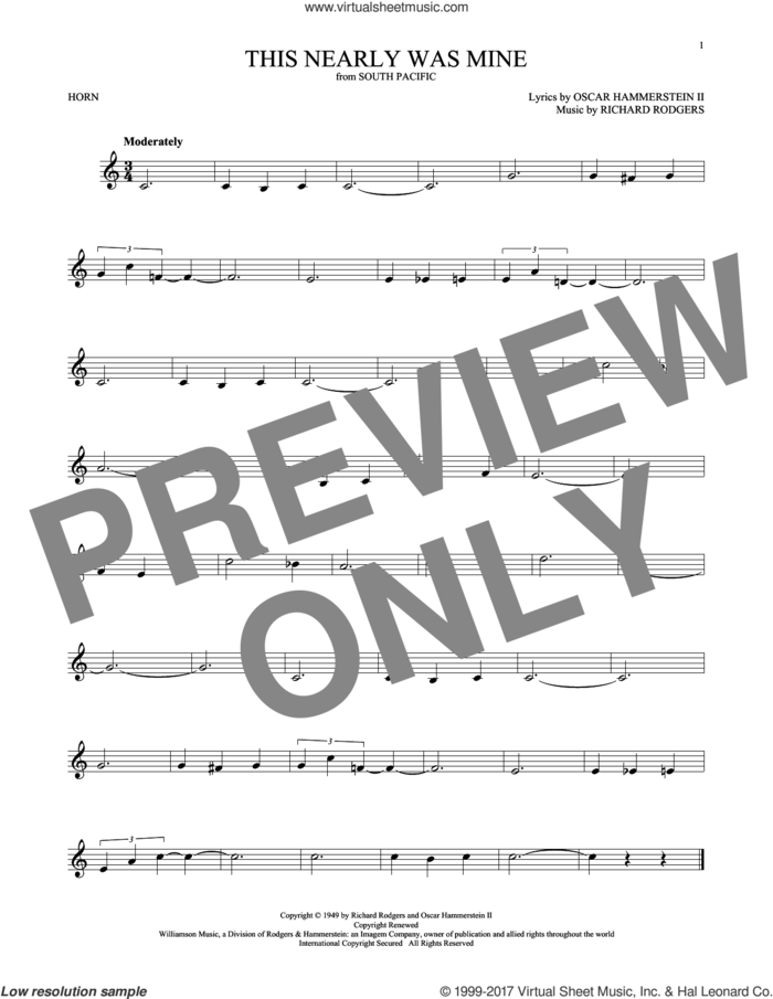 This Nearly Was Mine sheet music for horn solo by Rodgers & Hammerstein, Oscar II Hammerstein and Richard Rodgers, intermediate skill level