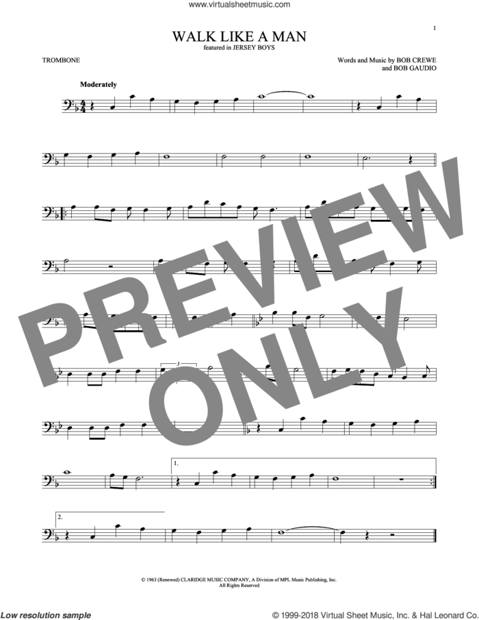 Walk Like A Man sheet music for trombone solo by The Four Seasons, Bob Crewe and Bob Gaudio, intermediate skill level