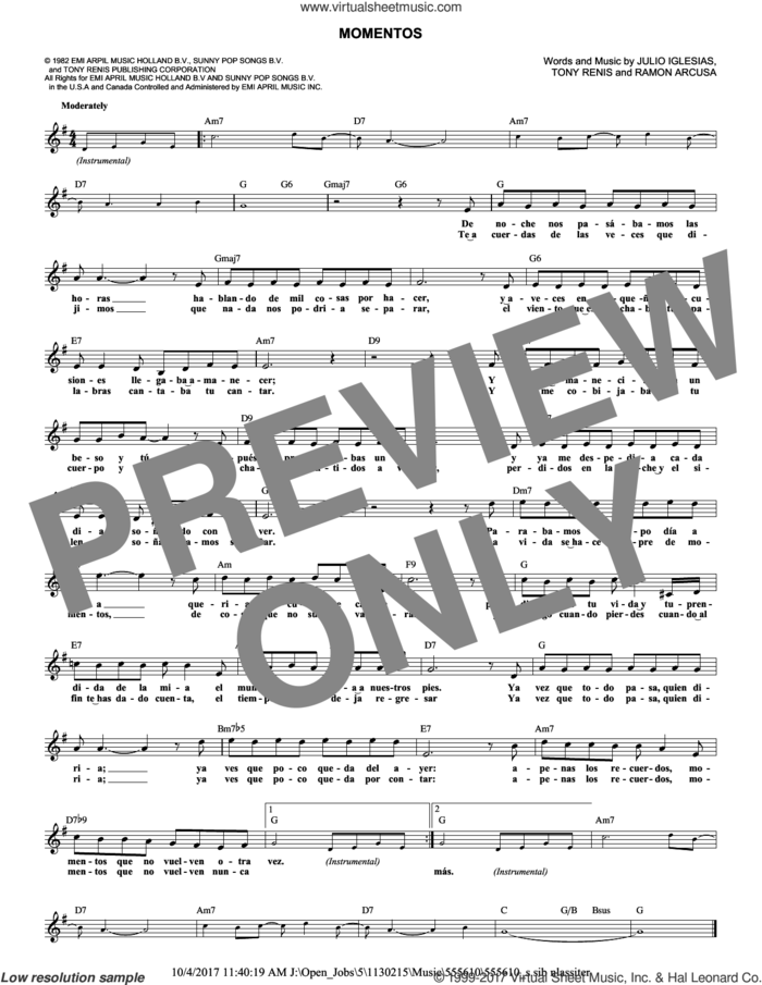 Momentos sheet music for voice and other instruments (fake book) by Andrea Bocelli, Miscellaneous, Julio Iglesias and Ramon Arcusa, classical score, intermediate skill level