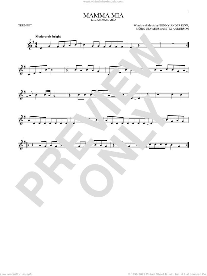 Mamma Mia sheet music for trumpet solo by ABBA, Meryl Streep, Benny Andersson, Bjorn Ulvaeus and Stig Anderson, intermediate skill level