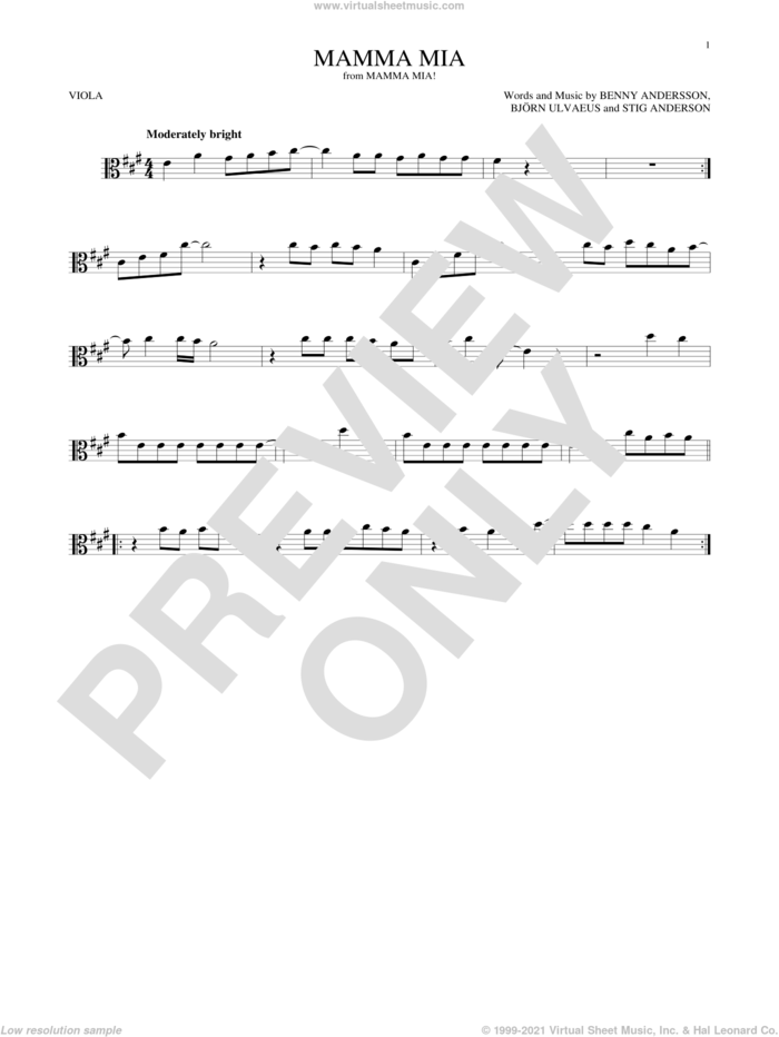 Mamma Mia sheet music for viola solo by ABBA, Meryl Streep, Benny Andersson, Bjorn Ulvaeus and Stig Anderson, intermediate skill level