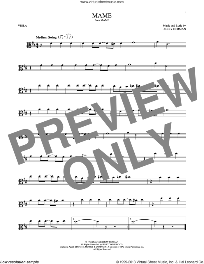 Mame sheet music for viola solo by Jerry Herman, intermediate skill level