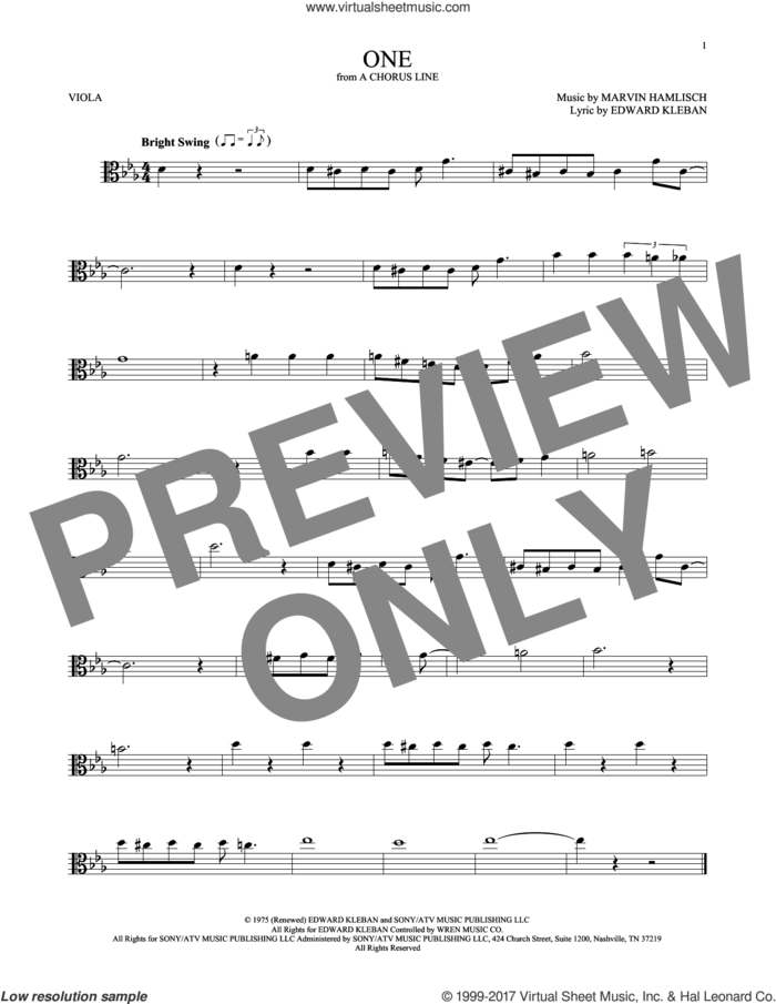 One sheet music for viola solo by Marvin Hamlisch and Edward Kleban, intermediate skill level