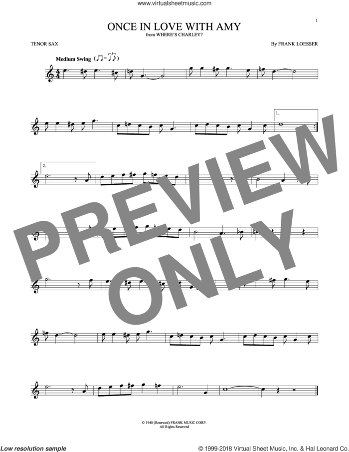 Once In Love With Amy sheet music for tenor saxophone solo by Frank Loesser, intermediate skill level