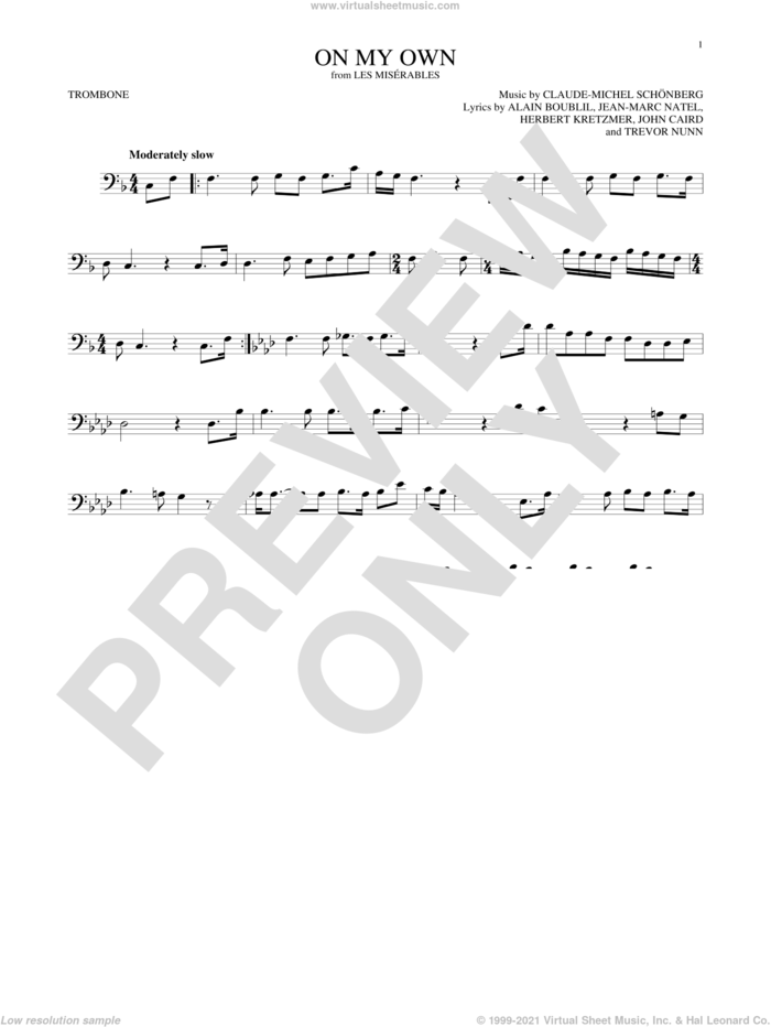 On My Own (from Les Miserables) sheet music for trombone solo by Alain Boublil, Claude-Michel Schonberg, Claude-Michel Schonberg, Herbert Kretzmer, Jean-Marc Natel, John Caird and Trevor Nunn, intermediate skill level