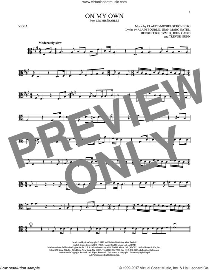 On My Own sheet music for viola solo by Alain Boublil, Claude-Michel Schonberg, Claude-Michel Schonberg, Herbert Kretzmer, Jean-Marc Natel, John Caird and Trevor Nunn, intermediate skill level