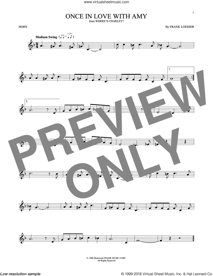 Once In Love With Amy sheet music for horn solo by Frank Loesser, intermediate skill level