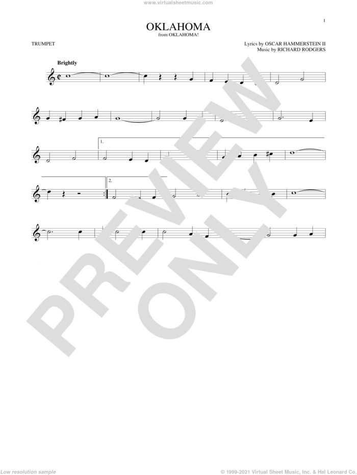 Oklahoma (from Oklahoma!) sheet music for trumpet solo by Rodgers & Hammerstein, Oscar II Hammerstein and Richard Rodgers, intermediate skill level