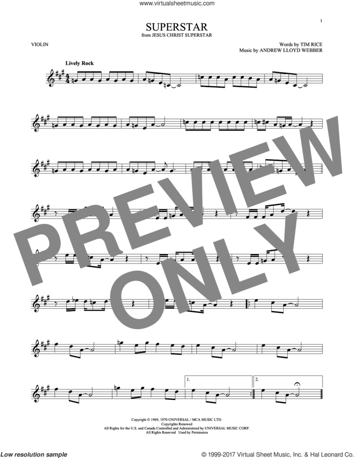 Superstar (from Jesus Christ Superstar) sheet music for violin solo by Andrew Lloyd Webber, Murray Head w/Trinidad Singers and Tim Rice, intermediate skill level
