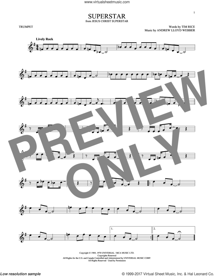 Superstar (from Jesus Christ Superstar) sheet music for trumpet solo by Andrew Lloyd Webber, Murray Head w/Trinidad Singers and Tim Rice, intermediate skill level