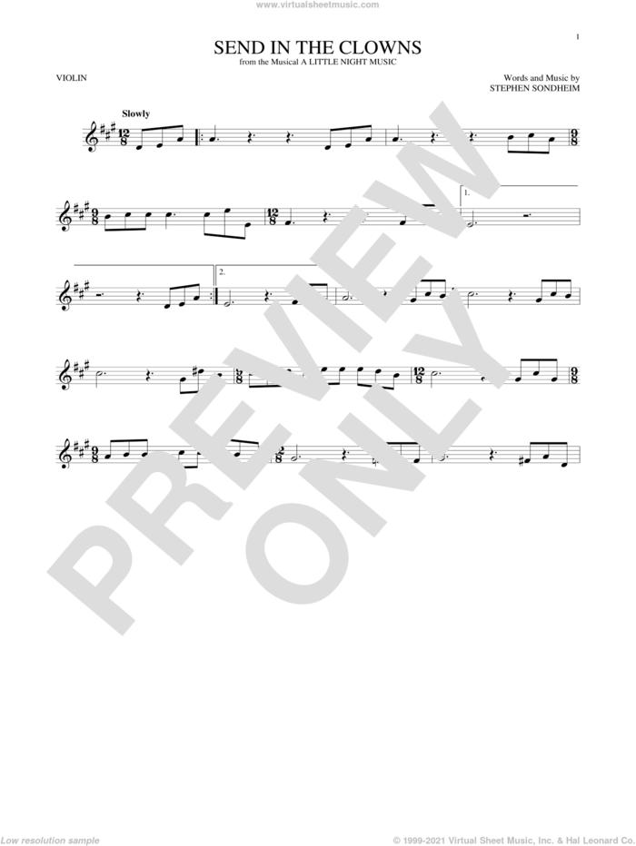 Send In The Clowns sheet music for violin solo by Stephen Sondheim, intermediate skill level