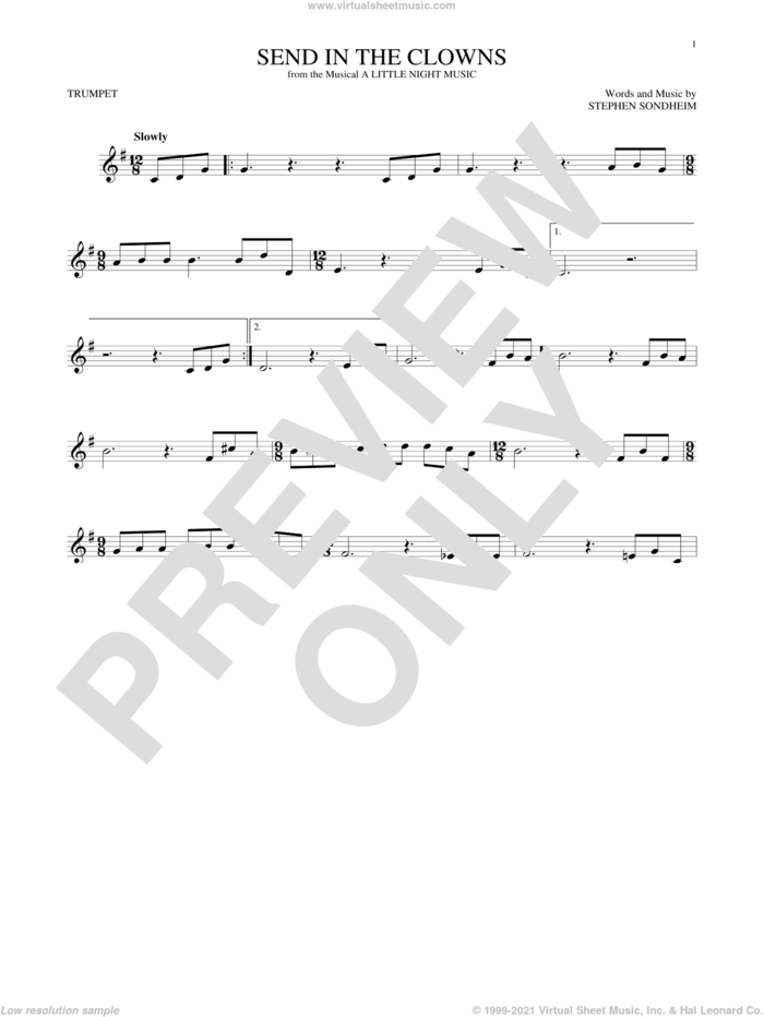 Send In The Clowns sheet music for trumpet solo by Stephen Sondheim, intermediate skill level
