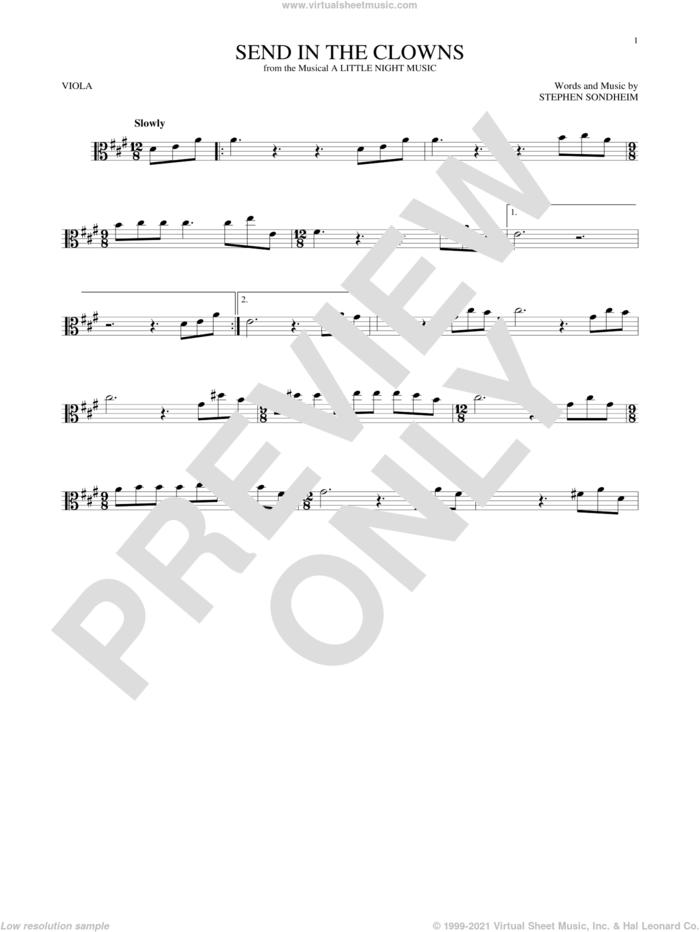 Send In The Clowns sheet music for viola solo by Stephen Sondheim, intermediate skill level