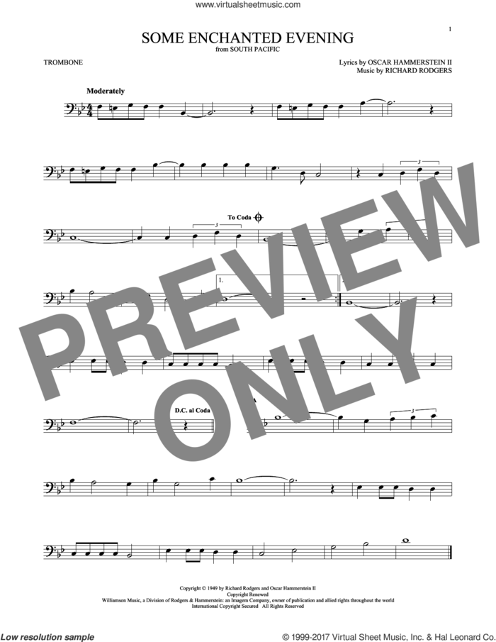 Some Enchanted Evening sheet music for trombone solo by Rodgers & Hammerstein, Oscar II Hammerstein and Richard Rodgers, intermediate skill level