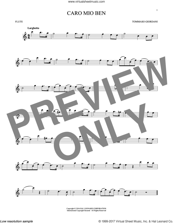 Caro Mio Ben sheet music for flute solo by Tommaso Giordani and Anonymous Italian poem, classical score, intermediate skill level