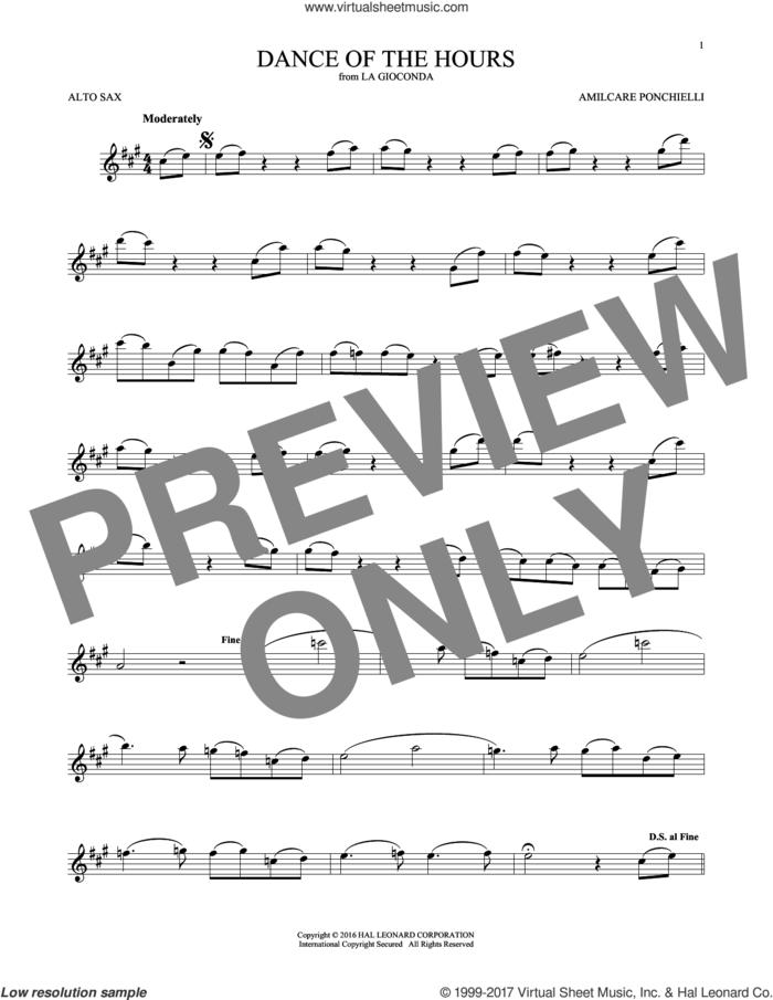 Dance Of The Hours sheet music for alto saxophone solo by Amilcare Ponchielli, classical score, intermediate skill level