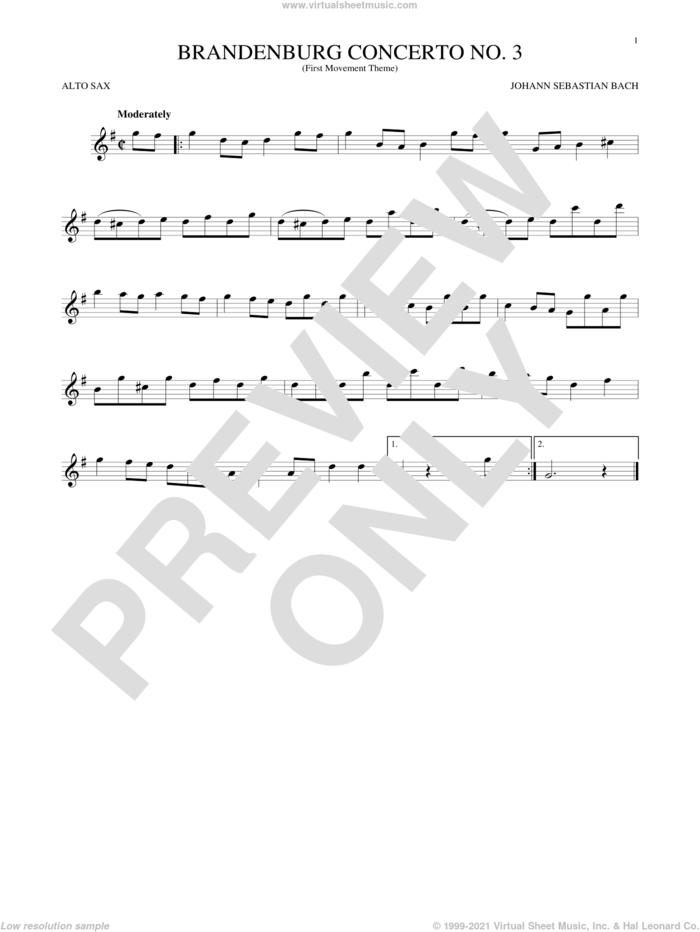 Brandenburg Concerto No. 3 sheet music for alto saxophone solo by Johann Sebastian Bach, classical score, intermediate skill level