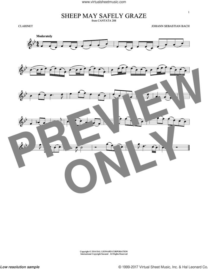 Sheep May Safely Graze sheet music for clarinet solo by Johann Sebastian Bach, classical wedding score, intermediate skill level