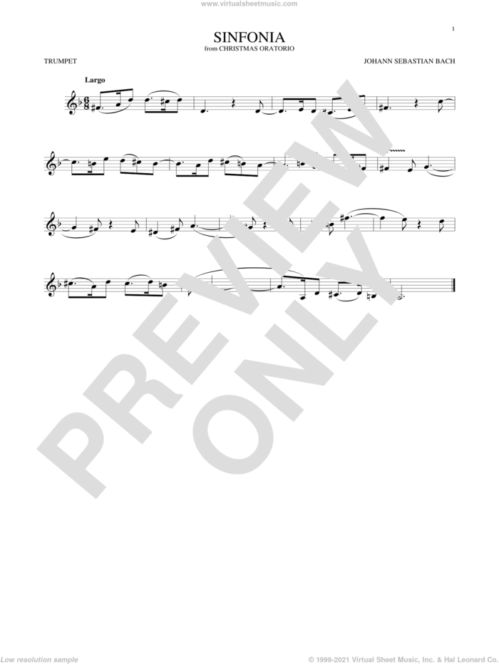 Sinfonia sheet music for trumpet solo by Johann Sebastian Bach, classical score, intermediate skill level