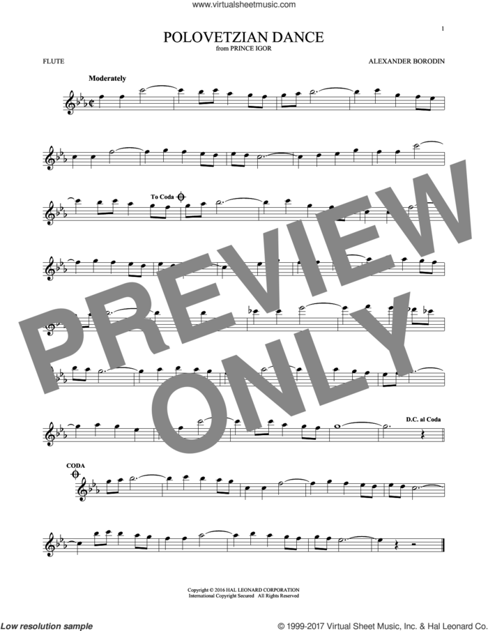 Polovetsian Dances sheet music for flute solo by Alexander Borodin, classical score, intermediate skill level