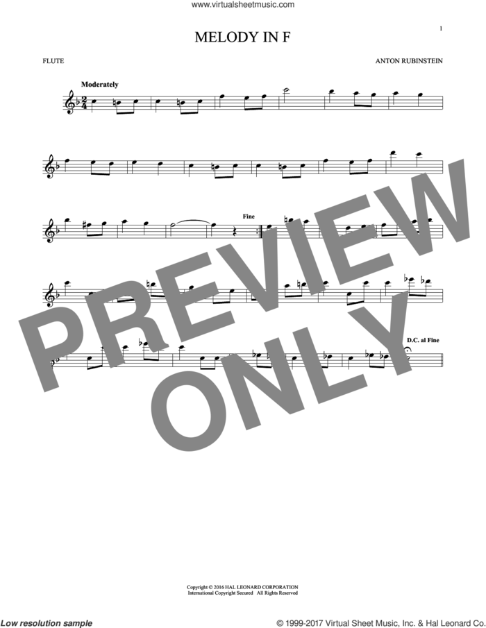 Melody In F sheet music for flute solo by Anton Rubinstein, classical score, intermediate skill level