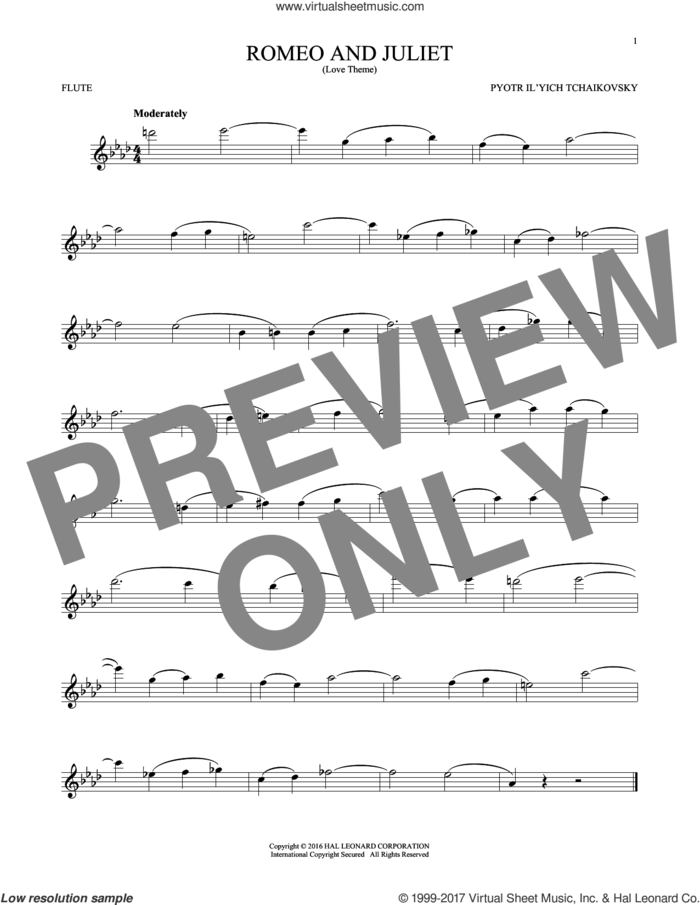 Romeo And Juliet (Love Theme) sheet music for flute solo by Pyotr Ilyich Tchaikovsky, classical score, intermediate skill level