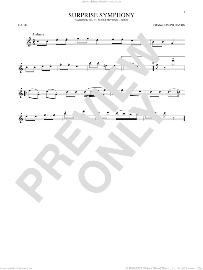 The Surprise Symphony sheet music for flute solo by Franz Joseph Haydn, classical score, intermediate skill level
