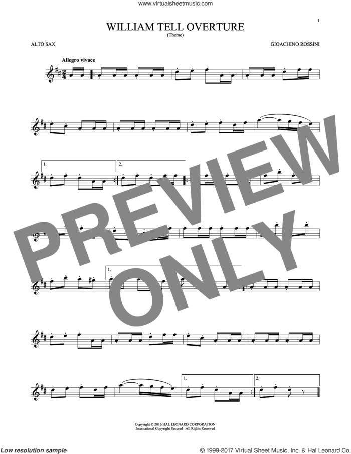 William Tell Overture sheet music for alto saxophone solo by Rossini, Gioacchino, classical score, intermediate skill level