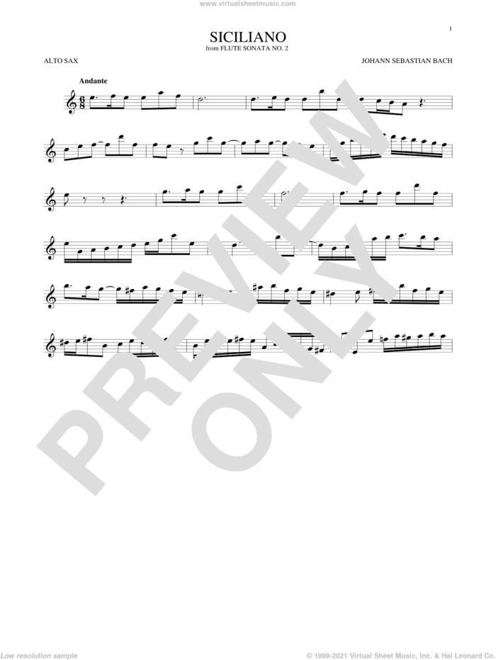 Siciliano sheet music for alto saxophone solo by Johann Sebastian Bach, classical score, intermediate skill level
